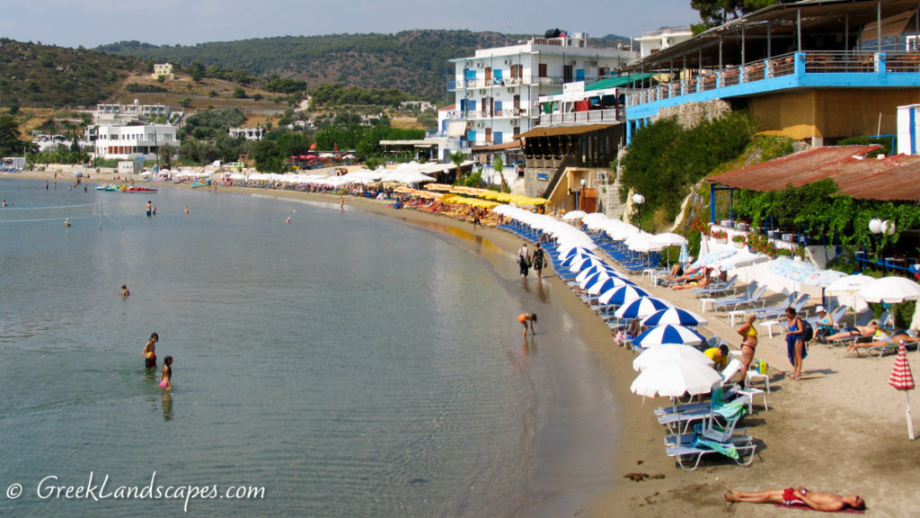 The beach of Agia Marina town, Aegina island