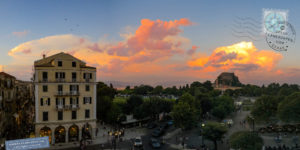 Sunset colorful clouds over corfu