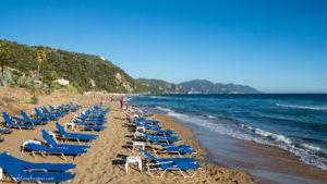 Glyfada beach on Corfu island