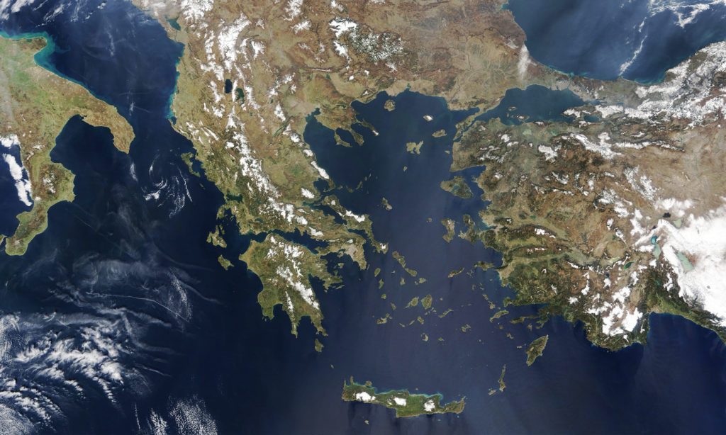 Greece satellite view