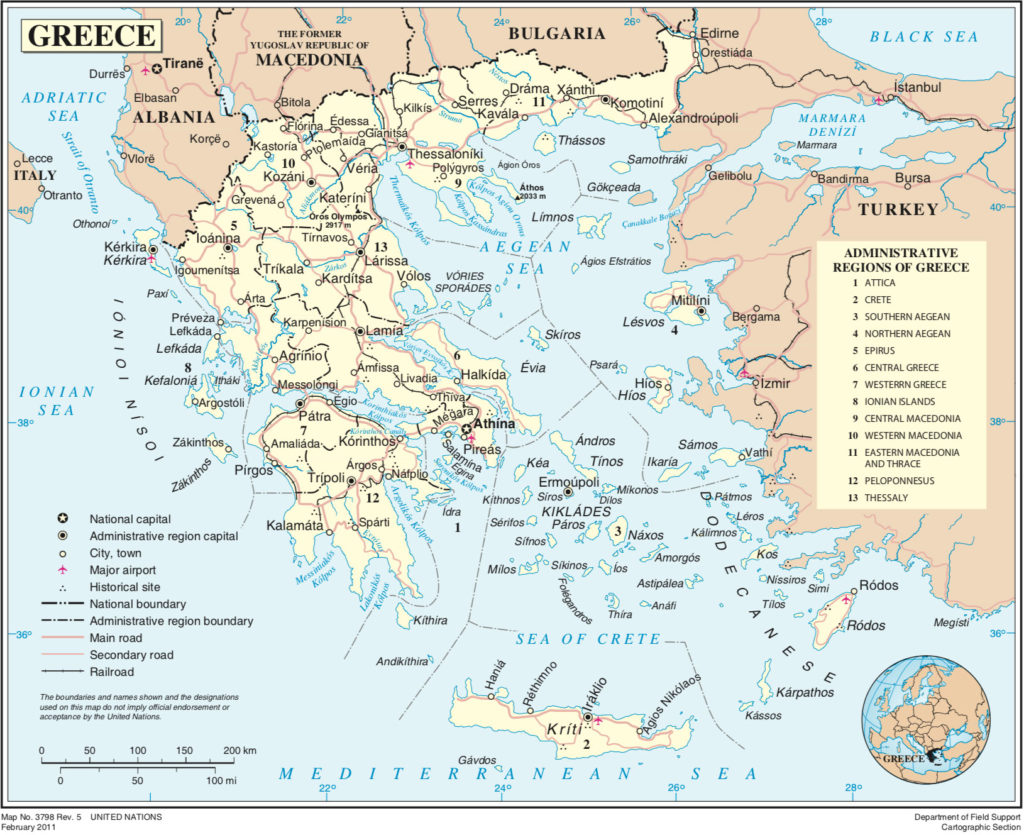 Political map of Greece showing the Administrative regions
