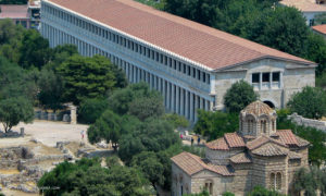 View of the Ancient Agora with the Stoa of Attalos and the church of the Apostles.
