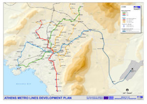 The map of Athens metro for printing