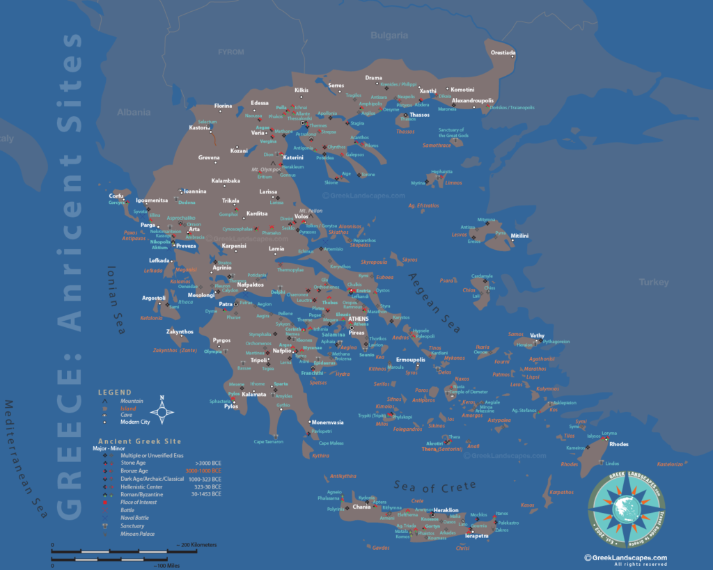 Ancient Greece sites map