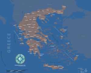 Map of cities and islands of Greece