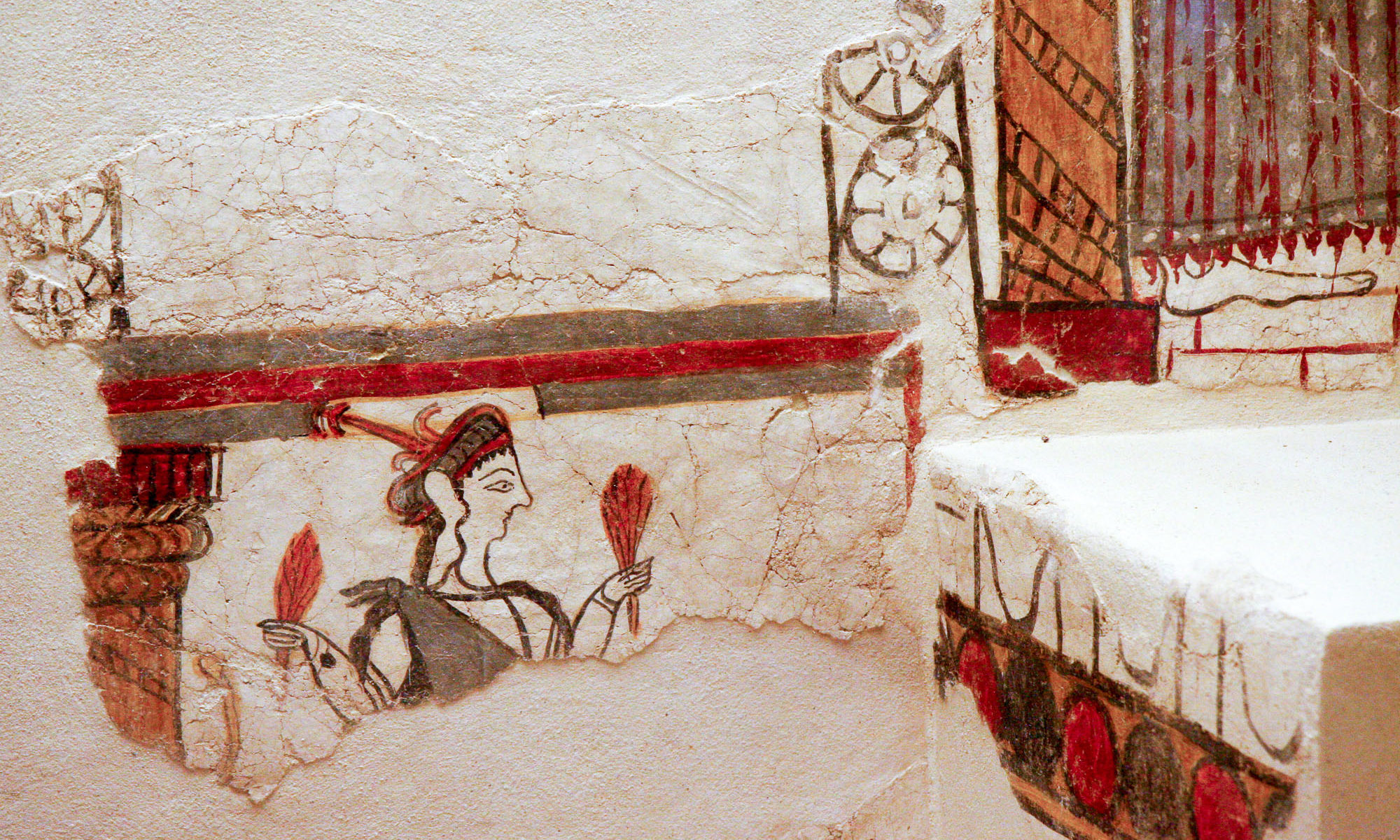 Detail of ancient wall painting of female figure