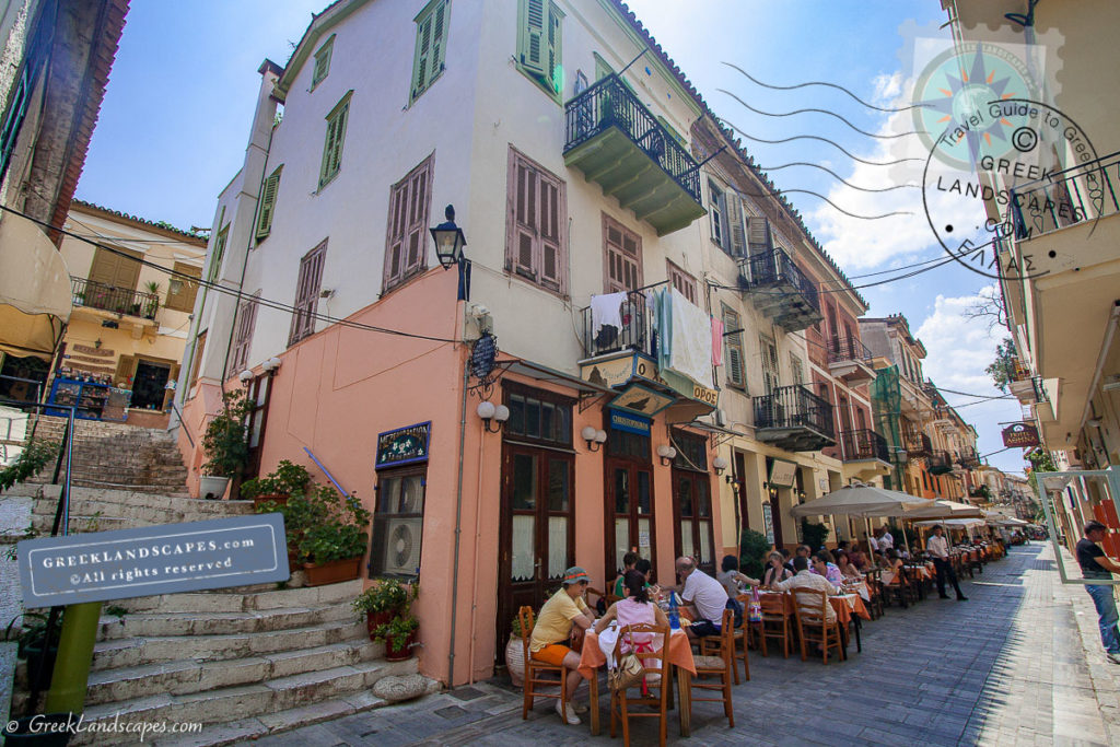 Outdoor restaurant tables at Nafplio old town