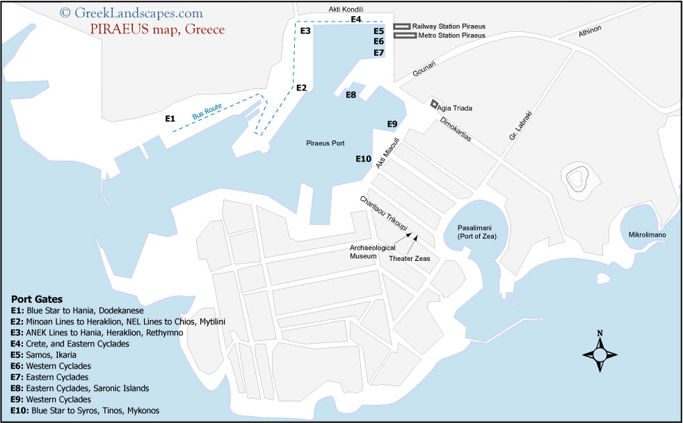 Map of piraeus port with the ferry gates