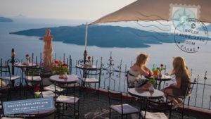 Outdoor cafe/bar in Fira, Santorini