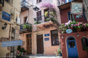 Street with colorful houses in Chania, Crete