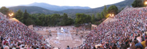 Epidaurus Theatre with spectators waiting for play to start