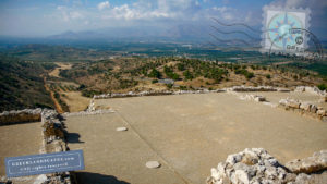 Mycenae palace and view of the valley