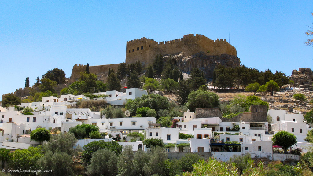 Lindos houses under the ancient acropolis