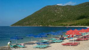Antisamos beach parasols and sun beds