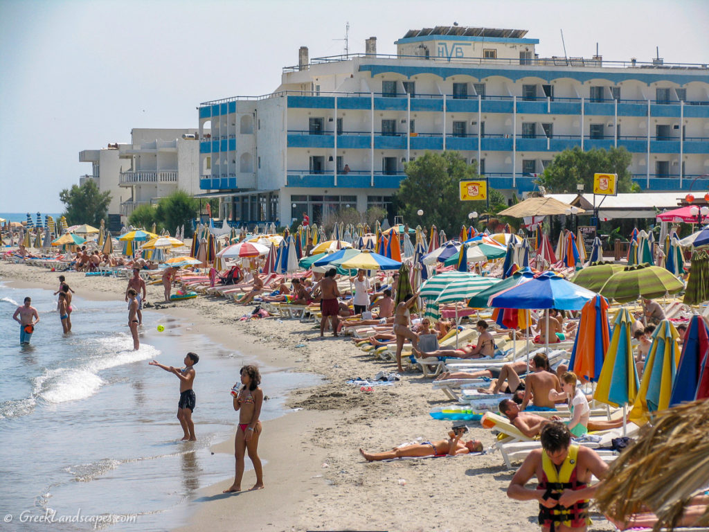 Crowded beach at Kardamena