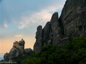 Monastery of St. Nicholas Anapafsas at the top of a tall rock formation