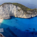 Navagio beach viewed from above
