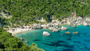 Turquoise waters and rocks at Spartila beach