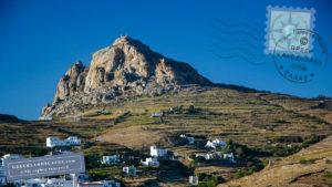Rocky summit of Exomvougo mountain in Tinos island