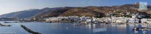Tinos town and port panorama