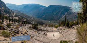 View of Delphi ancient ruins and the landscapes