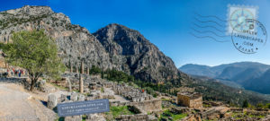 View of the archaeological site of Delphi