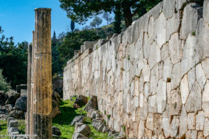 Retaining wall with carved inscriptions at Delphi Oracle