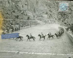 Horsemen in ancient stadium