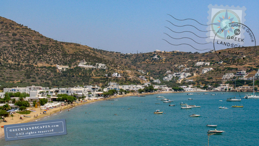 view of beach and Platys Gialos town in Sifnos