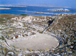 ancient theater with sea in the background
