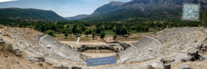 View of Dodoni theatre with the surrounding landscape and Mt. Tomaros