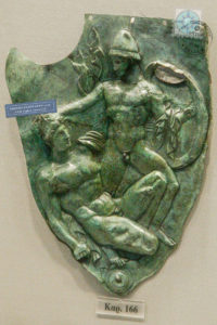 Side piece of an ancient bronze helmet from Dodoni
