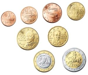Image of Euro coins issued by Greece