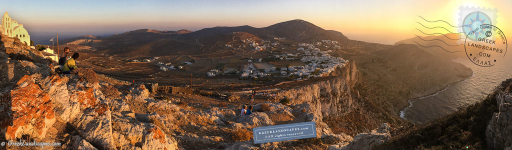 Panorama of folegandros town at sunset
