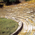 The well preserved seats of the theater at Gytheion.