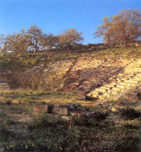 Ruins of Oiniadai theater with several trees