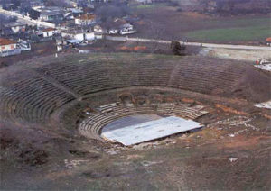 View of the large theater at Dion archaeological site